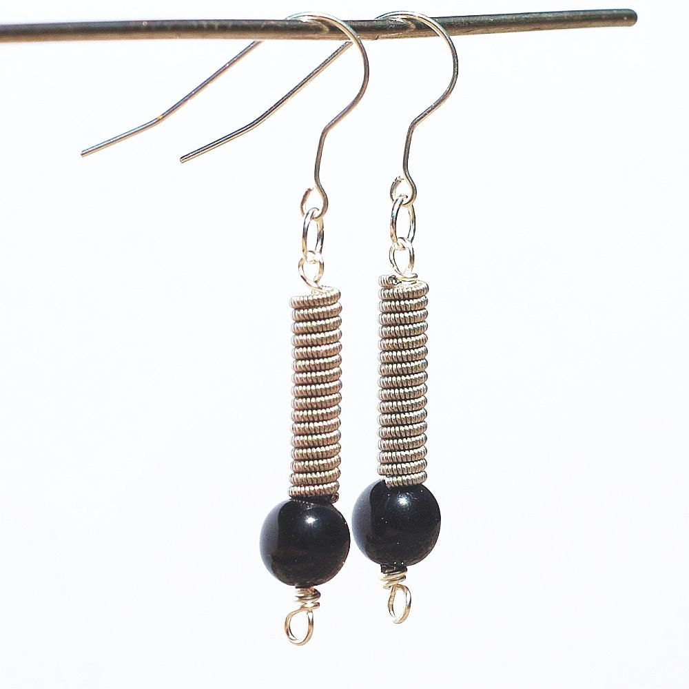 guitar string jewelry upcycled black bead silver guitar etsy. Black Bedroom Furniture Sets. Home Design Ideas