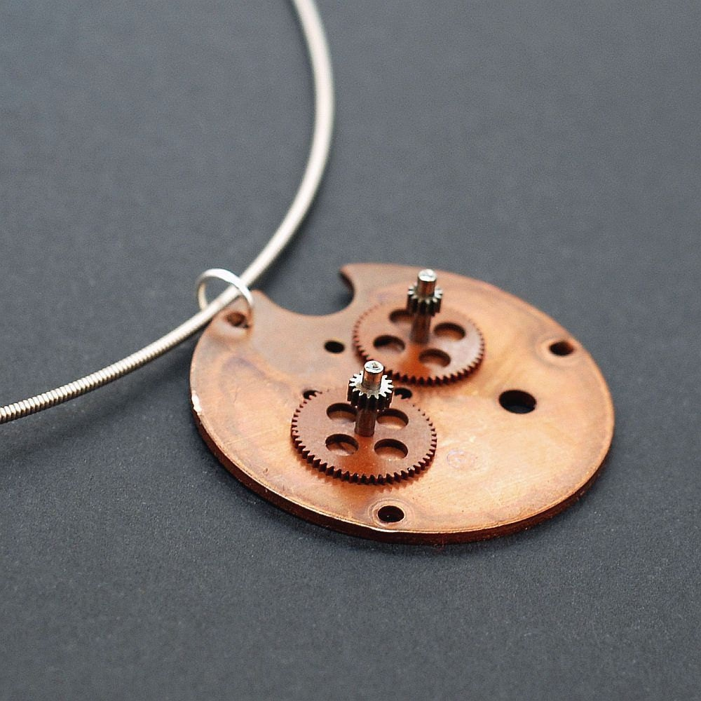 guitar string steampunk jewelry copper clock part industrial etsy. Black Bedroom Furniture Sets. Home Design Ideas