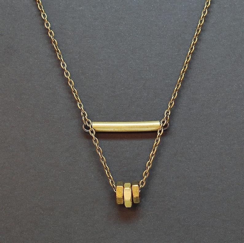 Modern Found Object Jewelry Hexagon Triangle Contemporary Hex Nut Grunge Industrial Hardware Brass Bar Necklace- Geometric Jewelry