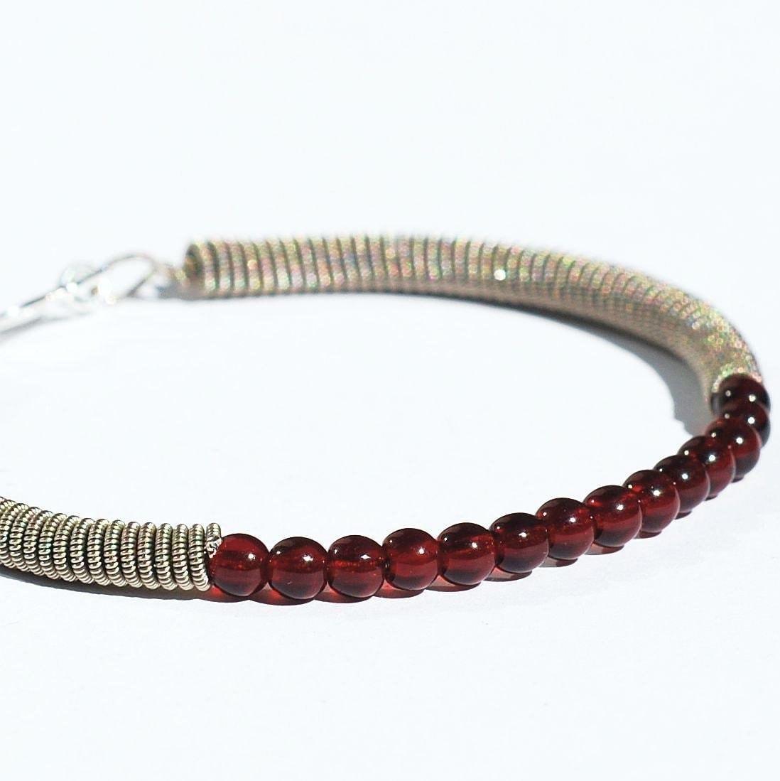 guitar string bracelet upcycled silver and garnet red bead etsy. Black Bedroom Furniture Sets. Home Design Ideas