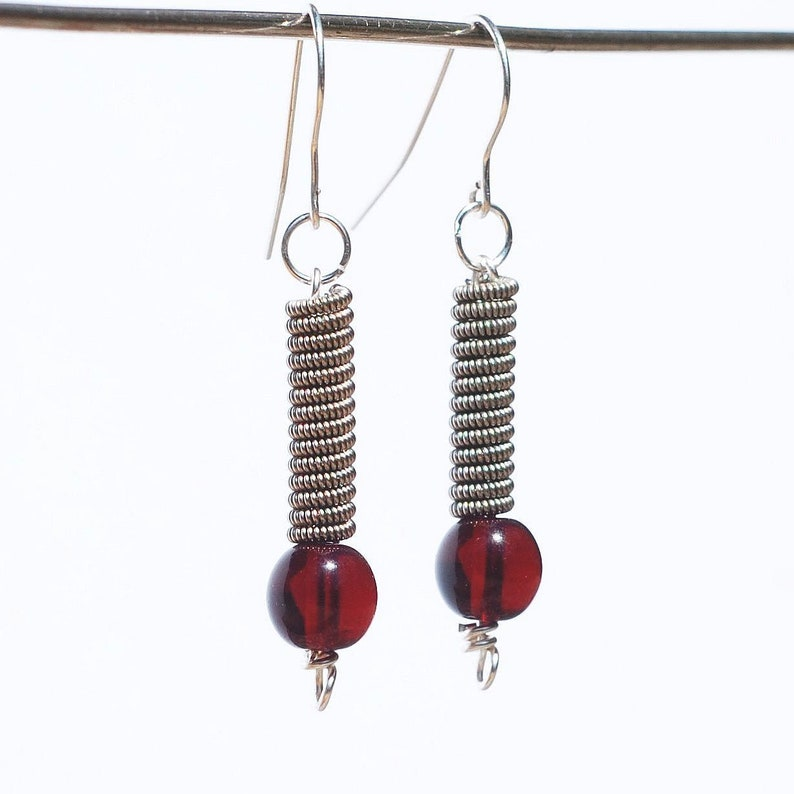 guitar string jewelry silver garnet red bead guitar string etsy. Black Bedroom Furniture Sets. Home Design Ideas
