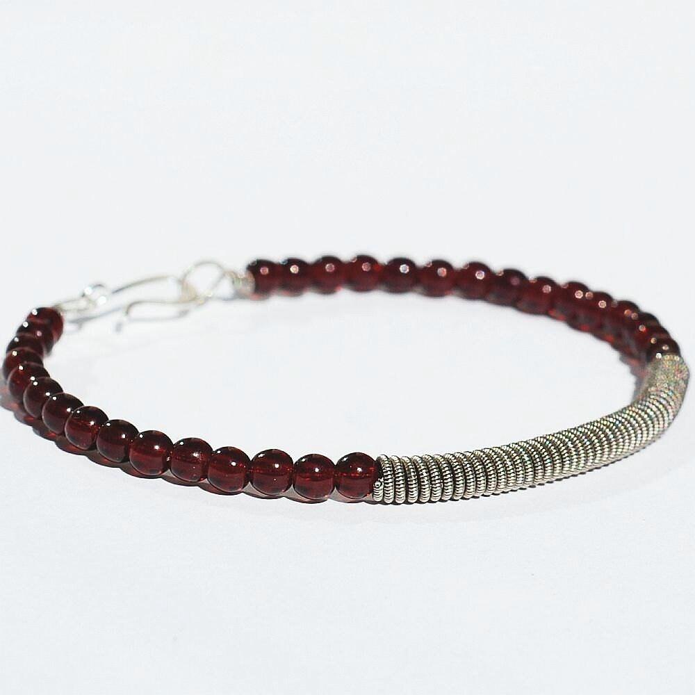 guitar string bracelet upcycled silver and garnet red beaded etsy. Black Bedroom Furniture Sets. Home Design Ideas