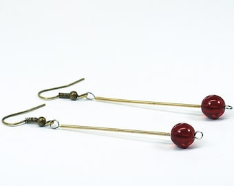 Guitar String Jewelry- Garnet Red Bead & Brass Upcycled Guitar String Earrings, Guitar Player Gift, Music Jewelry by Tanith Rohe