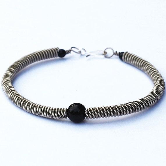guitar string bracelet black bead silver upcycled guitar etsy. Black Bedroom Furniture Sets. Home Design Ideas