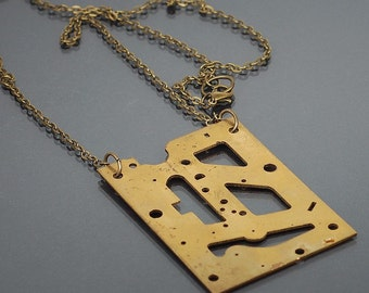 Steampunk Necklace- Brass Upcycled Rectangle Clock Part Steampunk Jewelry, Industrial Jewelry, Modern Contemporary Jewelry
