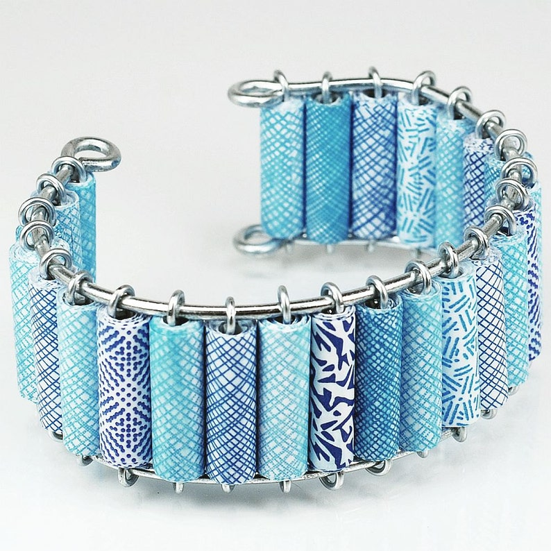 Modern Jewelry Contemporary Jewelry Paper Bead Jewelry- Upcycled Blue Security Envelope Cuff Bracelet Recycled Junk Mail Paper Jewelry