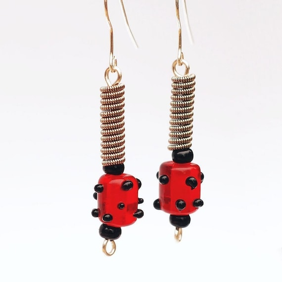 guitar string jewelry red and black polka dot bead guitar etsy. Black Bedroom Furniture Sets. Home Design Ideas