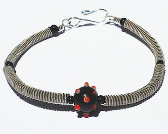 Guitar String Bracelet- Black and Red Bead Guitar String Jewelry, Music Jewelry, Guitar Player Gift, Upcycled Jewelry, Guitar Jewelry