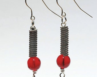 Guitar String Jewelry- Ruby Red Upcycled Guitar String Earrings, Music Jewelry, Guitar Player Gift by Tanith Rohe
