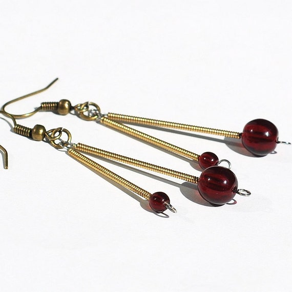 guitar string jewelry garnet red bead earrings brass drop etsy. Black Bedroom Furniture Sets. Home Design Ideas