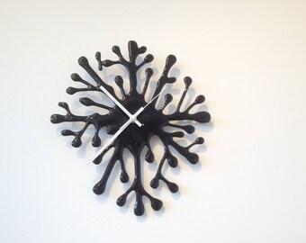 Splat clock, wall clock, black clock, monochrome decor, 25cms clock, monochrome decor idea, black wall clock, designer home, unique clock,