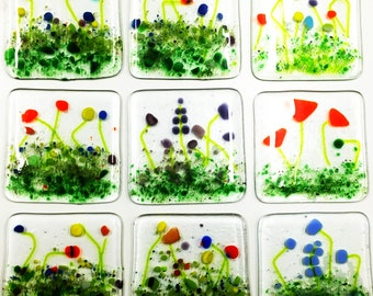 4 coasters, french meadow, coaster set, garden coaster, coasters, set of 4, garden lovers coaster set, garden room, garden room decor,