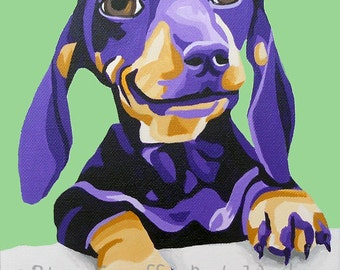 "8x10"" Archival Print of original dog portrait painting- Dachshund"