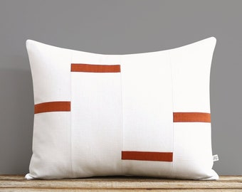 Cream and Burnt Orange Dash Pillow Cover, NEW Interconnection Pillows (16x20) by Jillian Rene Decor, Scattered Lines Stripes, Dash Pillow
