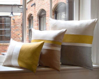 Mustard Yellow & Gray Chambray Striped Colorblock Pillow Cover Set of 3 - Modern Home Decor by JillianReneDecor
