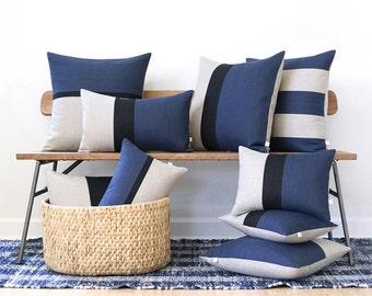 Blue Linen Pillow Cover Set of 9 - Decorative Pillows - Navy Blue, Black and Natural Linen by JillianReneDecor, Autumn Home Decor, Masculine