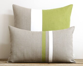 Olive Decorative Pillow Cover Set - (12x20) Stripe Pillow and (20x20) Colorblock Pillow by JillianReneDecor - Minimal Home Decor - Linden