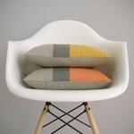 Yellow or Orange Color Block Pillow Cover in Natural Linen, Stone Grey & Squash or Pumpkin by JillianReneDecor - Modern Home Decor - FW2015