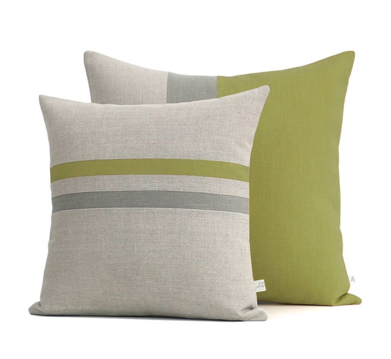 Color Block Stripe Pillow Set Linden And Grey Striped Etsy