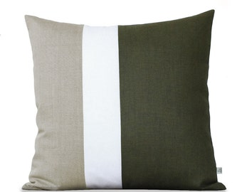 Olive Linen Colorblock Pillow Cover (20x20) - Modern Home Decor - Green Fall Trends - AS SEEN in Good Housekeeping with Emily Henderson