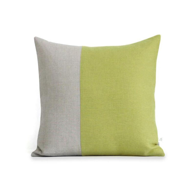 Minimal Linen Pillow Cover in Linden Green and Natural Linen image 0