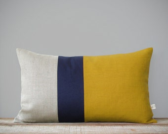 Colorblock Pillow Cover in Mustard Yellow, Navy and Natural Linen (12x20) by JillianReneDecor - Modern Home Decor - Decorative Pillow