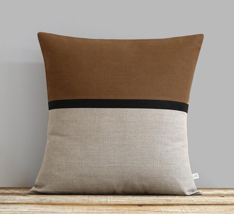 Caramel Horizon Line Pillow Cover with Black & Natural Linen image 0