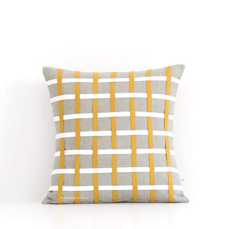 Marigold Woven Lines Pillow Cover 16x16 Marigold Yellow image 0