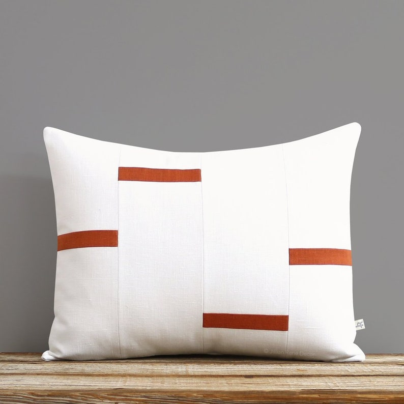 Cream and Burnt Orange Dash Pillow Cover NEW Interconnection image 0