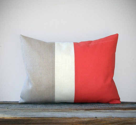 Coral Color Block Decorative Pillow With Cream And Natural Etsy Impressive Coral Colored Decorative Pillows