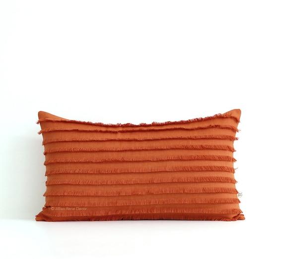 Burnt Orange Layered Fringe Pillow