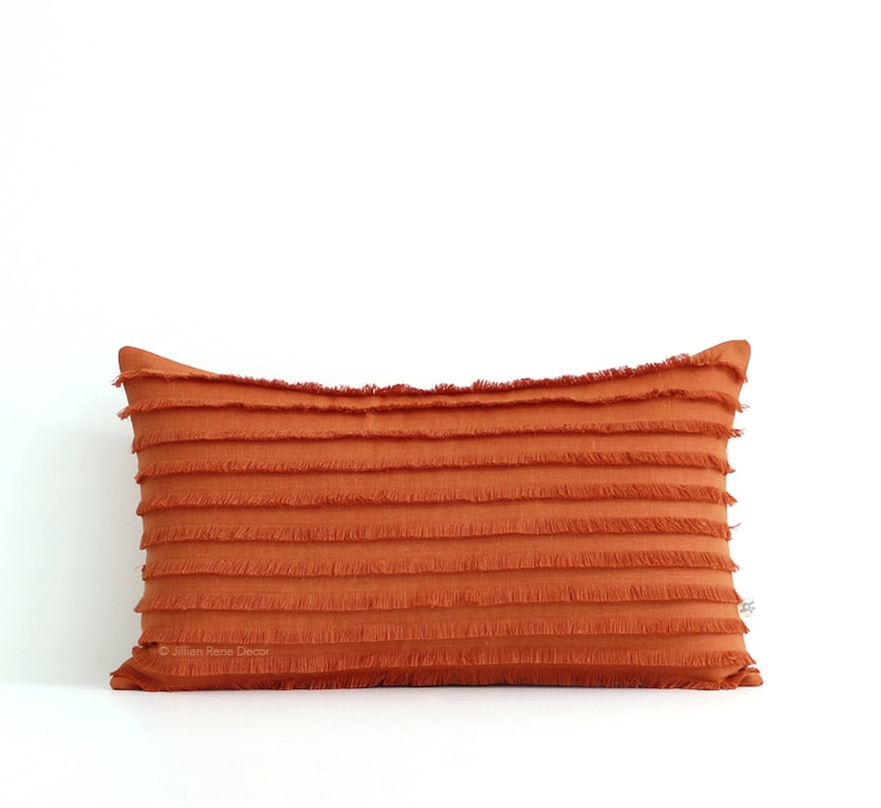 Burnt Orange Layered Fringe Pillow Cover 12x20 Cushion Cover image 0