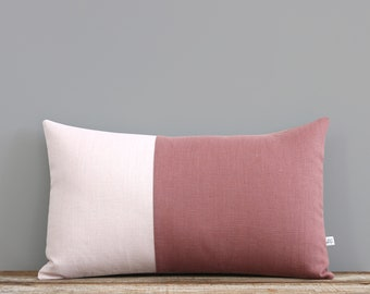 Pink Linen Pillow Cover, Two Tone Colorblock Pillow Cover by JillianReneDecor - Minimal, Monochromatic, Scandinavian Inspired, Mauve