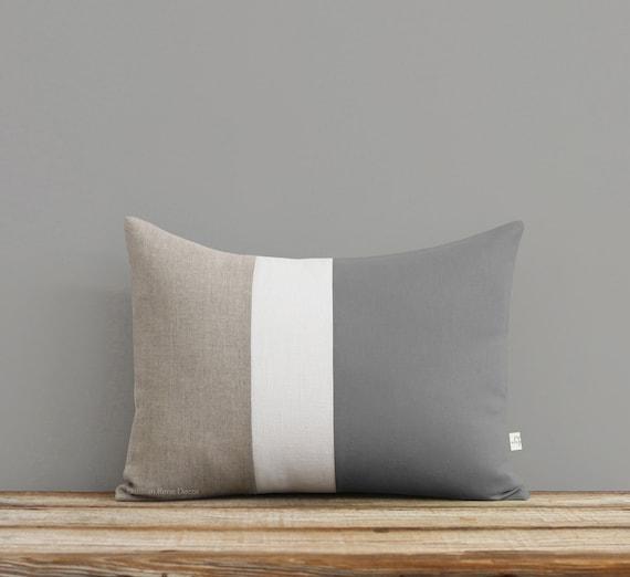 Gray Color Block Pillow Neutral Colors