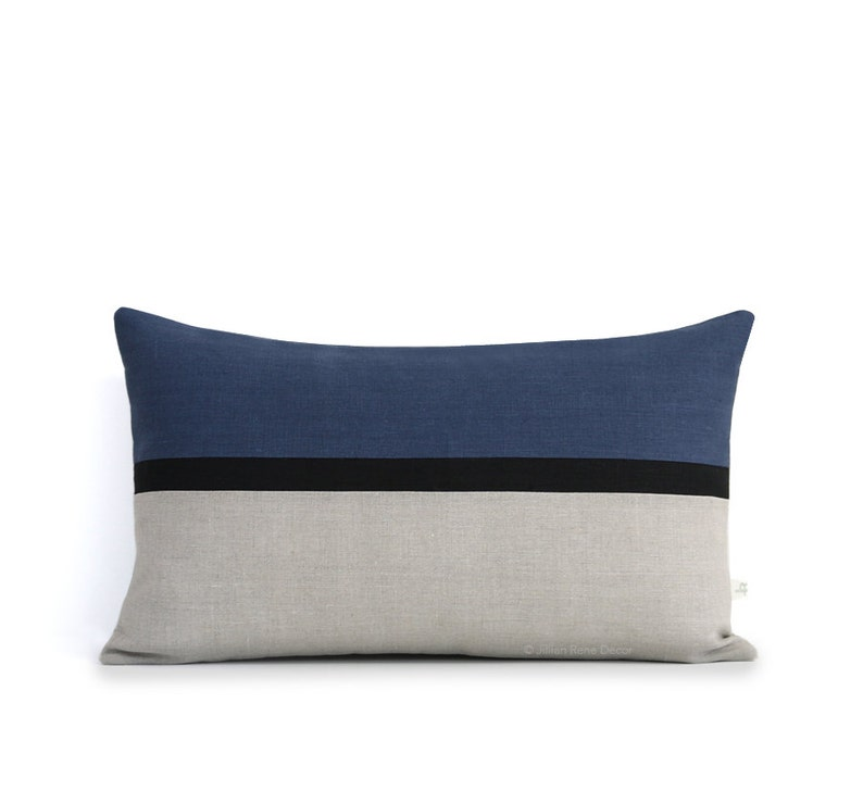 Navy Blue Horizon Line Pillow Cover with Black & Natural Linen 12x20 inches