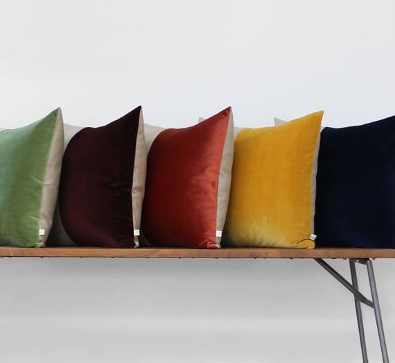 Colorblock Velvet Pillow Deep Teal