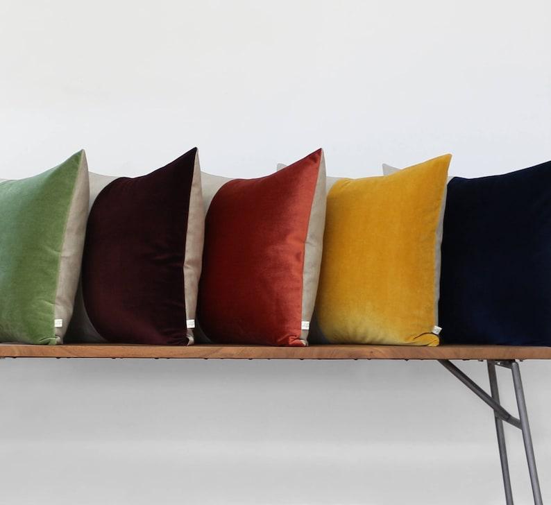 CUSTOM Velvet Colorblock Pillow Cover by JillianReneDecor image 0