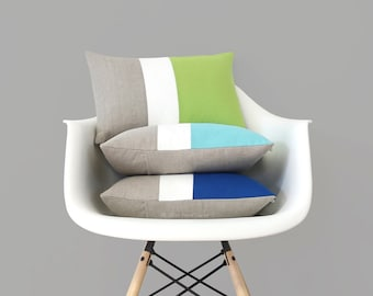 Pantone Colorblock Pillow Covers, Spring Decorative Pillow (12x16) by Jillian Rene Decor - 2017, Greenery, Island Paradise, Lapis Blue