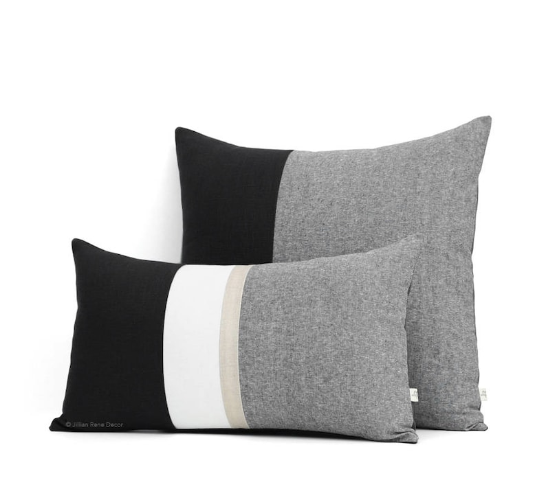 Black Chambray Decorative Pillow Cover Set of 2 with Gold Stripe 12x20 and 20x20 by JillianReneDecor Black and White Colorblock Pillows