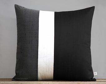 Silk Colorblock Pillow (20x20) Black, Cream and Charcoal Gray by JillianReneDecor, Minimal, Modern Home Decor, Metallic Color Block Pillow