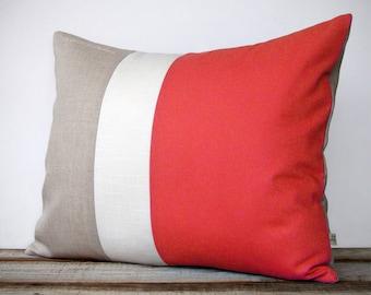 16x20 Color Block Pillow in Coral, Cream and Natural Linen by JillianReneDecor -  Home Decor - Striped Trio - Custom
