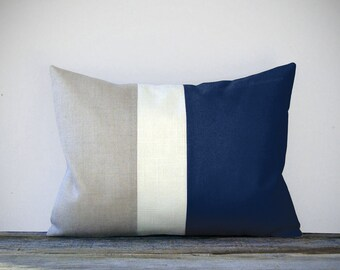 Navy Blue Colorblock Pillow Cover with Cream and Natural Linen Stripes by JillianReneDecor Summer Home Decor Striped Nautical