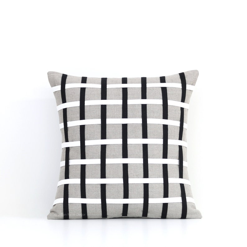 Woven Lines Pillow Cover 16x16 Black Cream and Natural image 0
