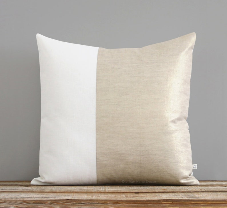 Metallic Gold Pillow Two Tone Colorblock Pillow Cover Modern image 0