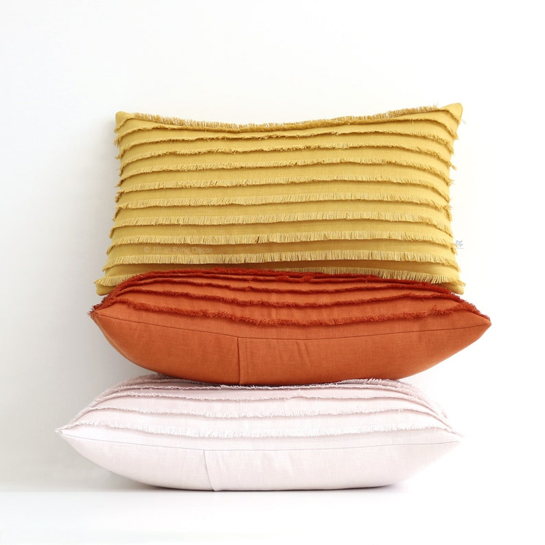 Yellow Layered Fringe Pillow Cover 12x20 Cushion Cover image 0
