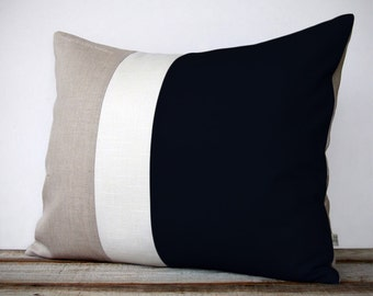 16x20 Color Block Pillow in Black, Cream and Natural Linen by JillianReneDecor - Black and White Home Decor - Striped Trio - (COVER ONLY)