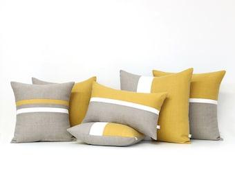 Yellow Linen Pillow Cover Set of 6 - Decorative Pillows - Squash, Cream and Natural Linen by JillianReneDecor, Spring Home Decor, Stripes
