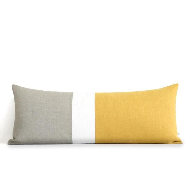 Squash Colorblock Pillow Cover Bedding 14x35 Lumbar Pillow image 0