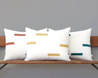 NEW Interconnection Pillows, Cream and Yellow Dash Pillow Cover (16x20) by Jillian Rene Decor, Scattered Lines Stripes, Dash Pillow, Squash