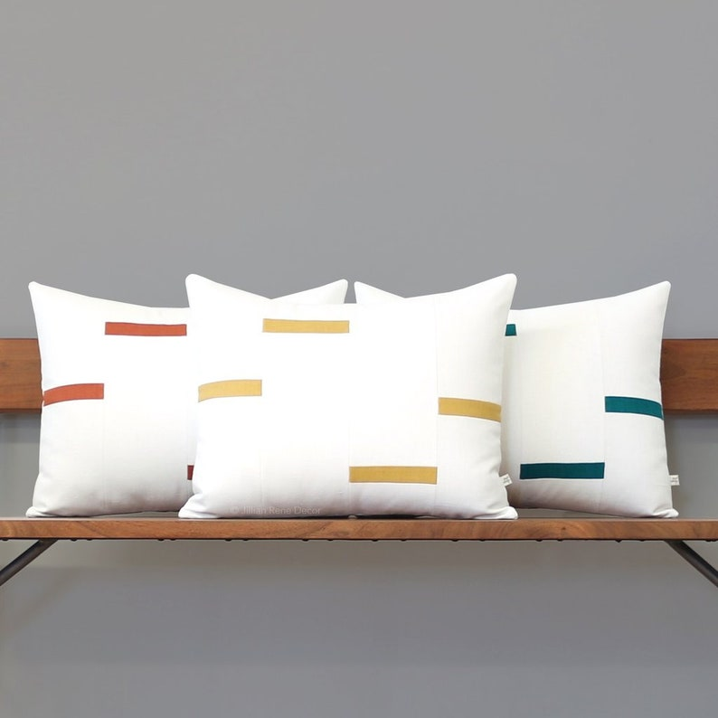 NEW Interconnection Pillows Cream and Yellow Dash Pillow Squash Yellow